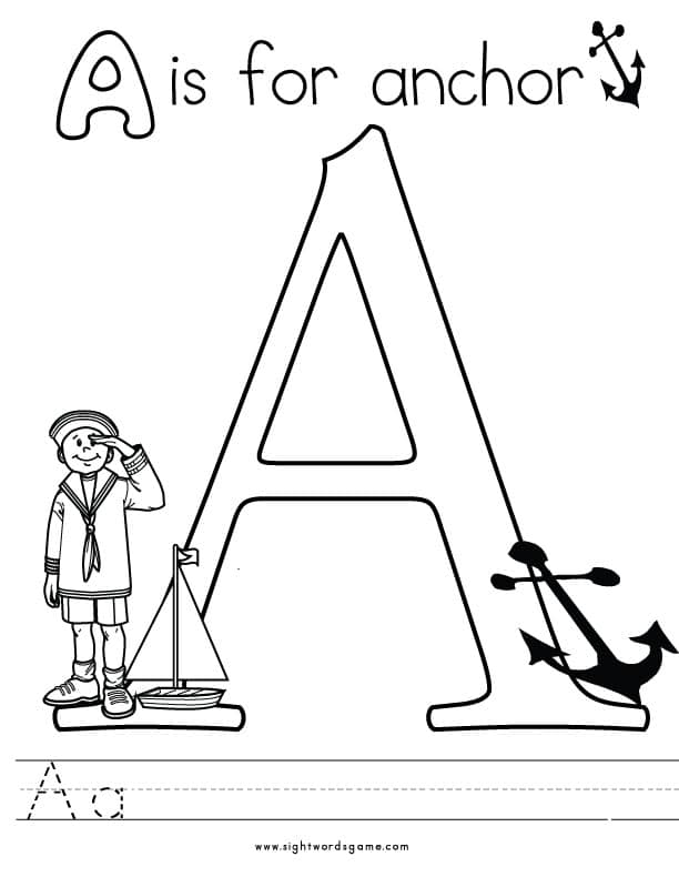 alphabet coloring pages - Letter A Coloring Pages
