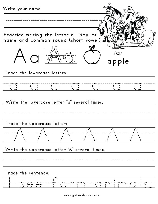 Letters Of The Alphabet Worksheets Sight Words Reading Writing
