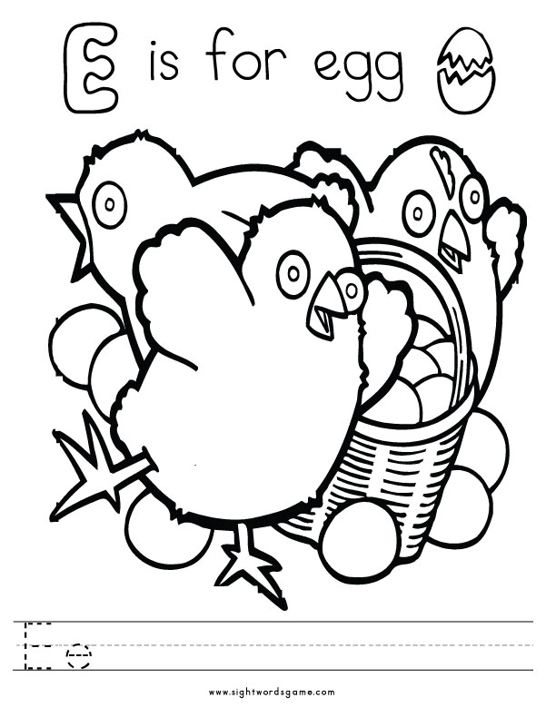 Letter E Coloring Page 1