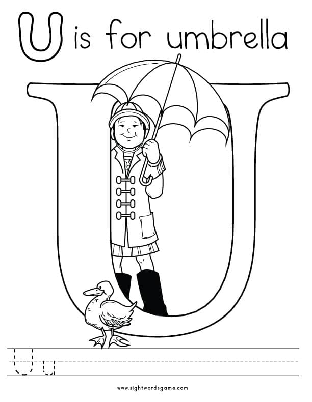 Alphabet coloring pages for Letter u coloring pages