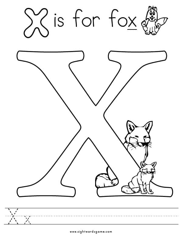 alphabet x color...X Coloring Page