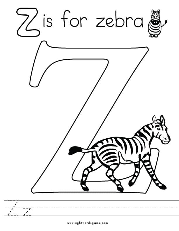 the letter z coloring pages - photo#15