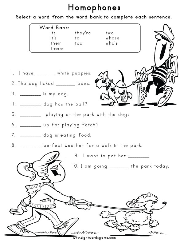 Homophones Sight Words Reading Writing Spelling Worksheets