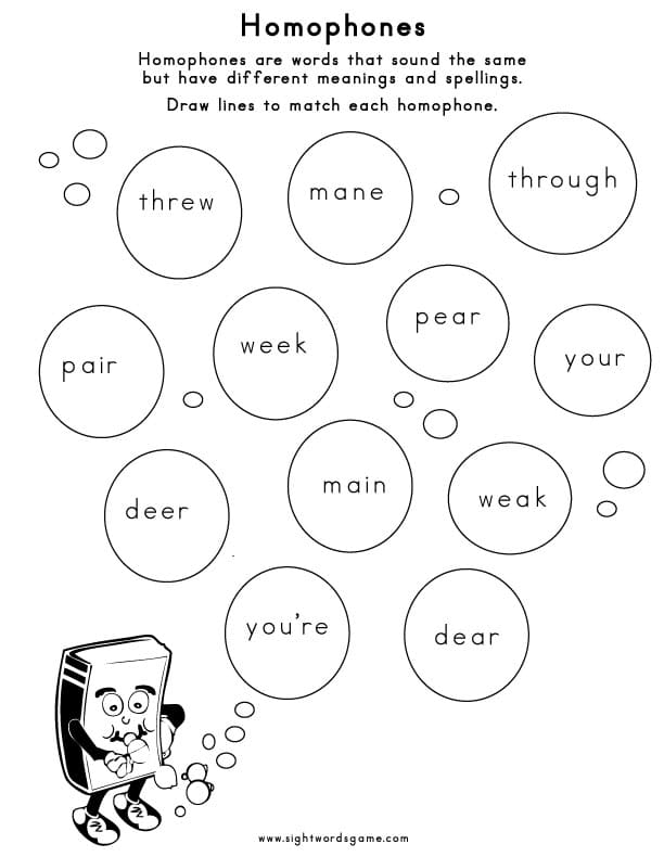 Homophones – Homonyms Worksheets