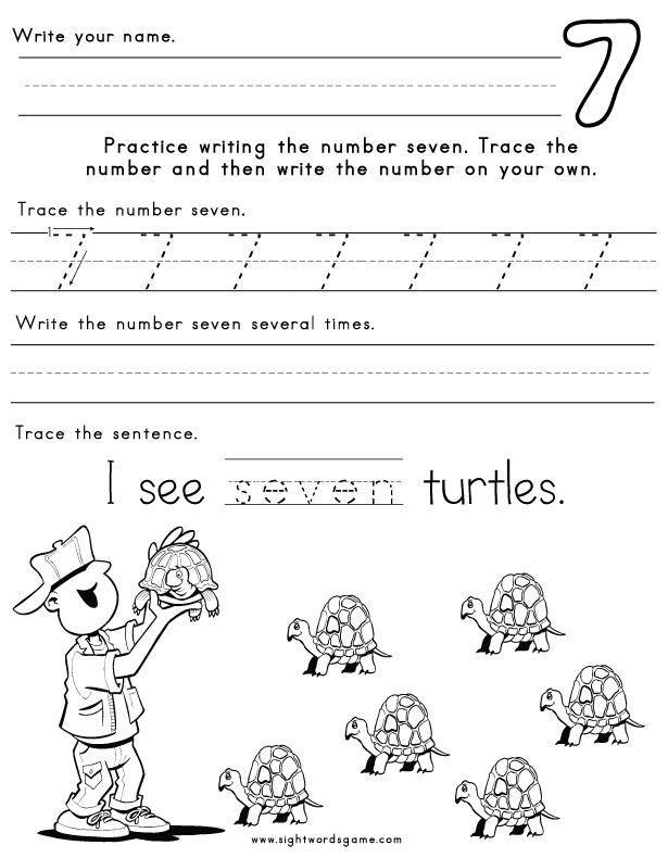 Worksheets Number Worksheets number worksheets seven worksheet 1