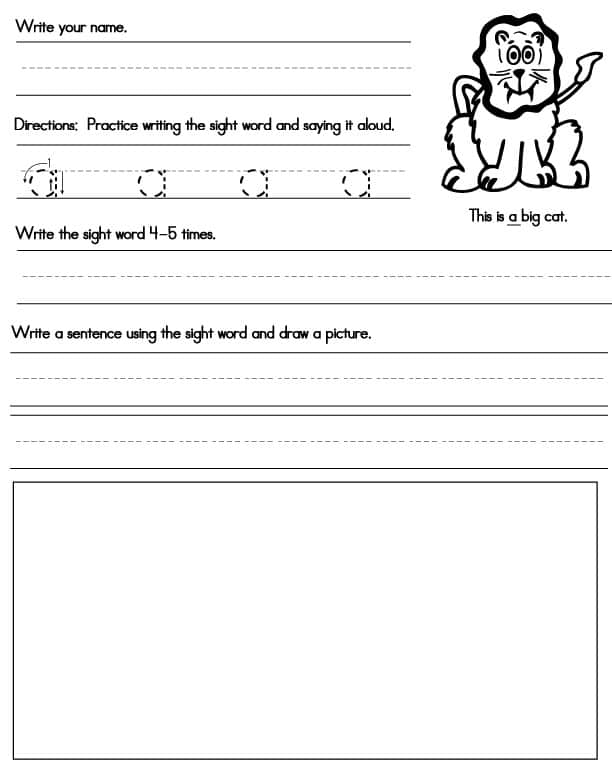 Worksheets Sight Words Worksheets Free printable sight word worksheets a