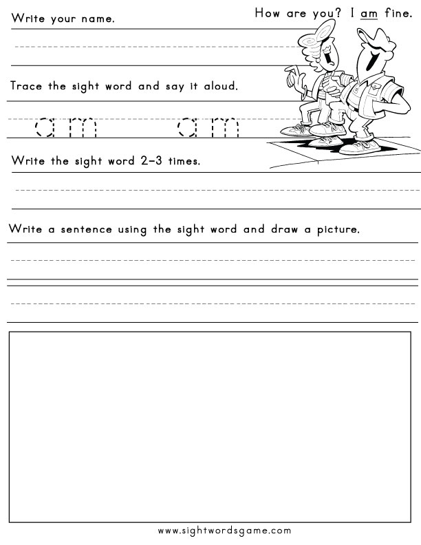 Word  Worksheets worksheets Printable Sight word sight blank