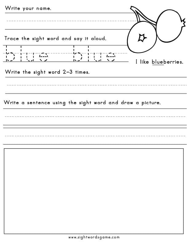 black blue brown green - Free Color Word Worksheets