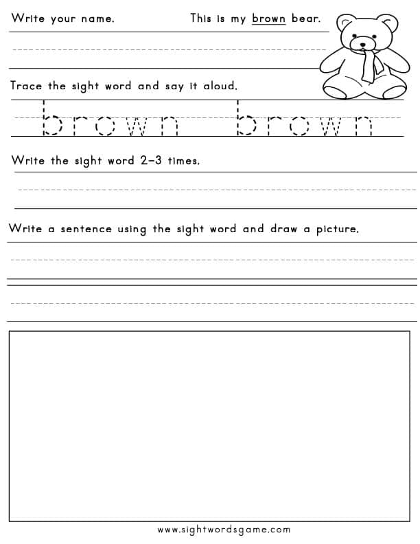 color worksheets  sight words reading writing spelling  worksheets black blue brown green