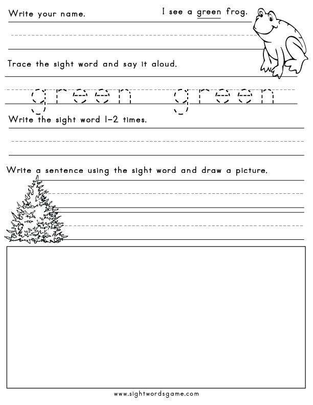 color worksheets - Free Color Word Worksheets