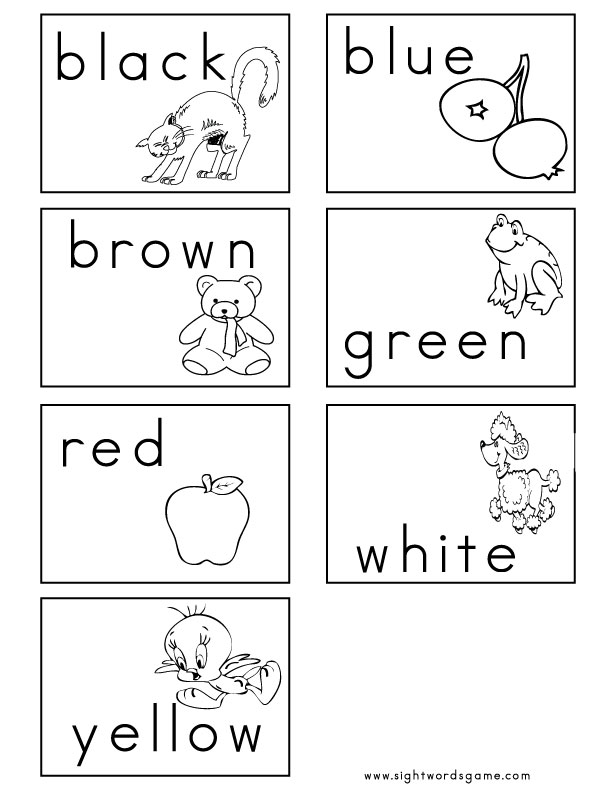Cards recognition sight worksheets Flash 2 word Color