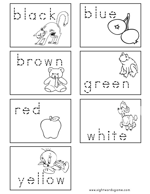 Worksheets Color Words Worksheets color worksheets flash cards 3