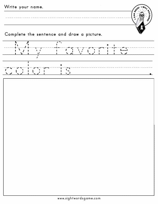 favorite-color-worksheet
