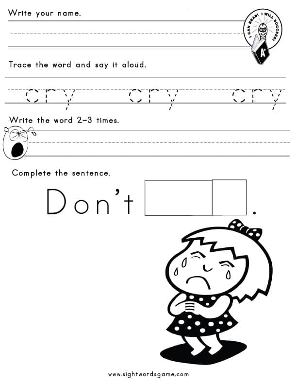 Y Word Family Sight Words Reading Writing Spelling