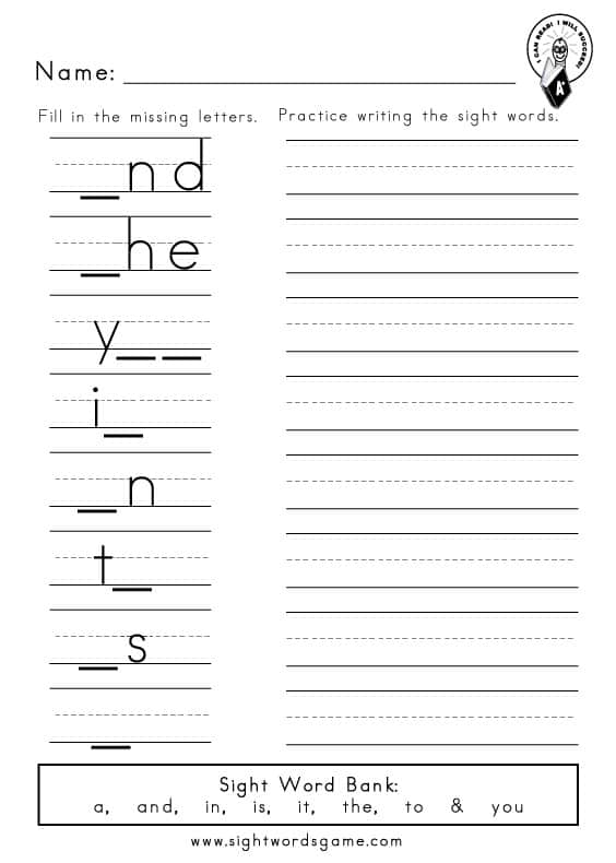 to  printable dolch & Preprimer and, Missing in, 1 word you it, a, is, Letters the, sight worksheets