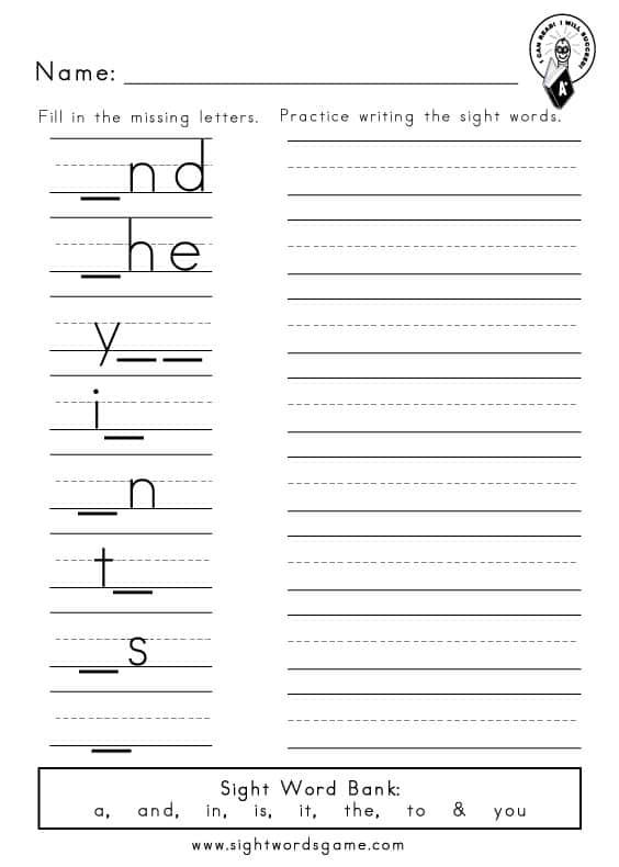 Sight-Word-Worksheets-Preprimer-Missing-Letters-1