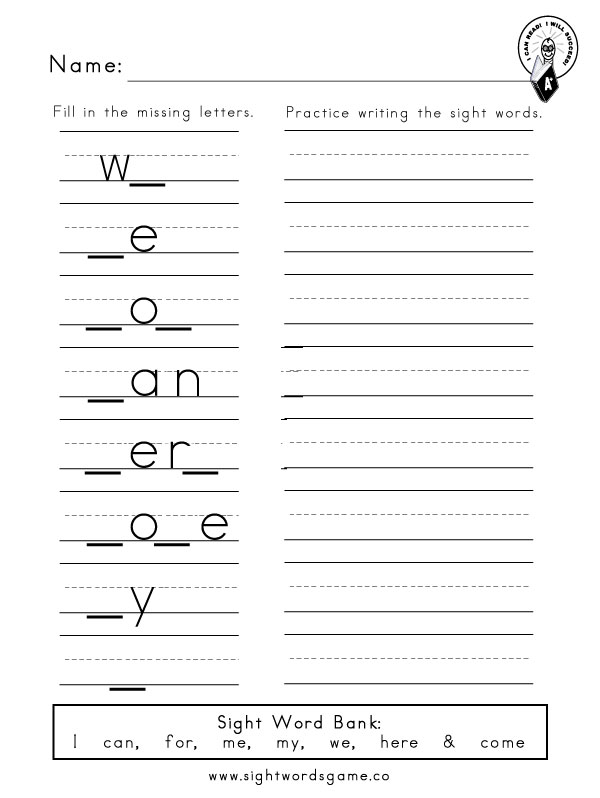 Printables Dolch Sight Word Worksheets dolch sight word worksheets