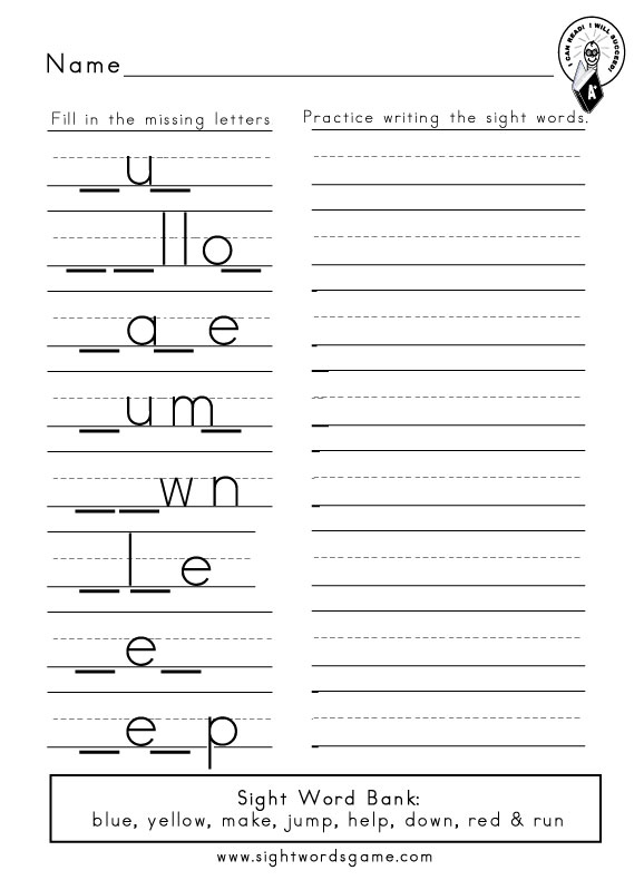 Printables Dolch Sight Word Worksheets dolch sight word worksheets preprimer missing letters 4